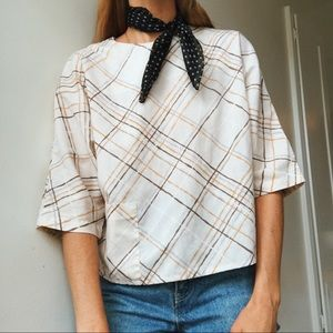 Vintage Plaid Summer Top with Pocket